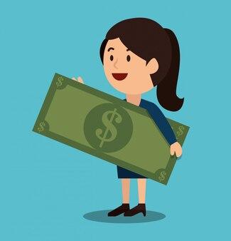 Projeto de ganhos de dinheiro de mulher dos desenhos animados isolado