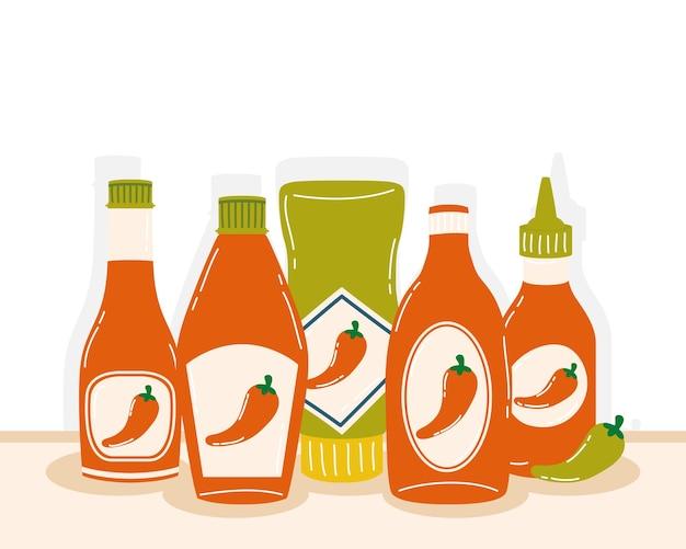 Projeto de garrafas de molho de pimenta quente com tema de vegetais e alimentos picantes. ilustração vetorial