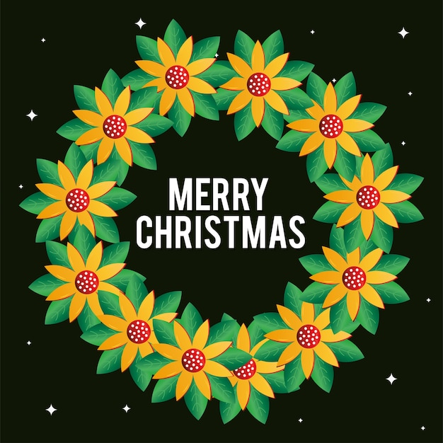 Projeto de grinalda de flores de feliz natal, temporada de inverno e tema de decoração