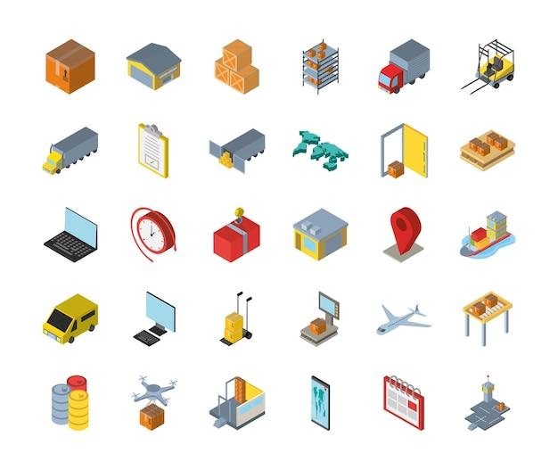 Projeto de grupo de ícones isométricos de entrega e logística, transporte, frete e tema de serviço