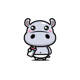 Projeto de hipopótamo bebê fofo
