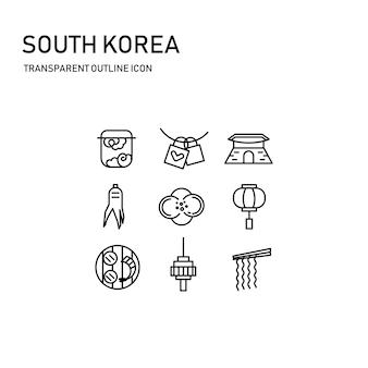 Projeto de ícone de coreia do sul com linha fina transparente