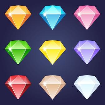 Projeto de ícone de cores diferentes de pedras preciosas de diamante.