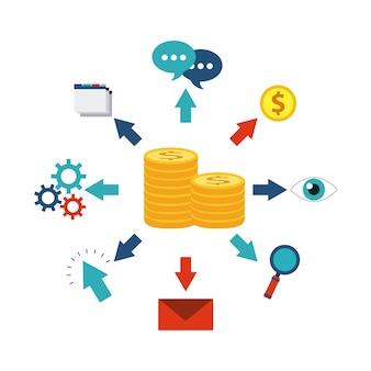 Projeto de ícone de finanças de dinheiro