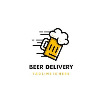 Projeto de ícone de logotipo de entrega de cerveja