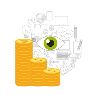 Projeto de ícone de moeda de dinheiro