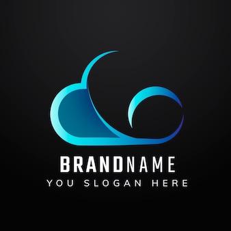 Projeto de ícone de slogan editável na nuvem