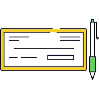 Projeto de ícone de vetor de cheque bancário e caneta