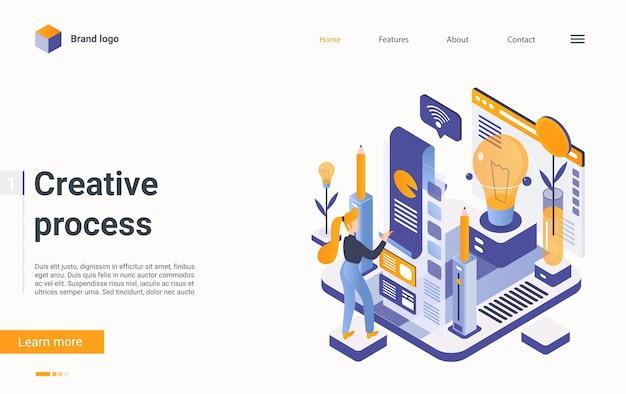 Projeto de ideia de desenvolvimento digital de página de aterrissagem isométrica de conceito de processo de trabalho criativo.