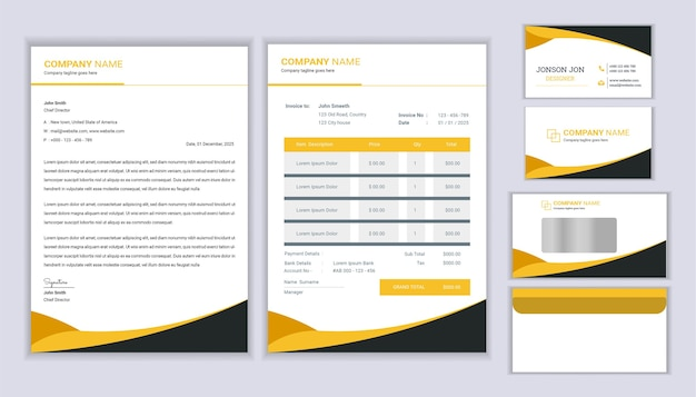 Projeto de identidade empresarial de papelaria corporativa com fatura de modelo de papel timbrado e cartão de visita