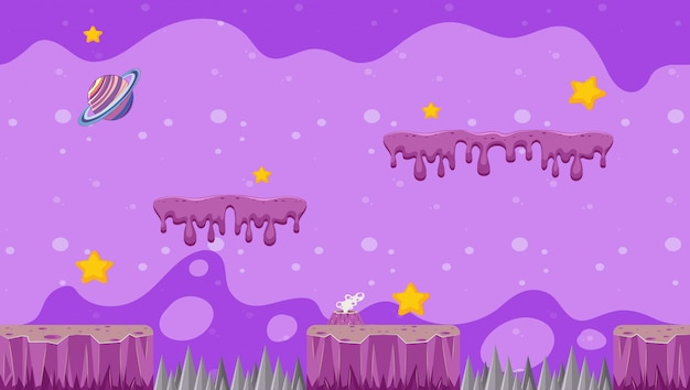 Projeto de ilustração com tema de galáxia para videogames
