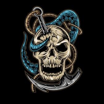 Projeto de ilustração de âncora de tentáculo de crânio isolado