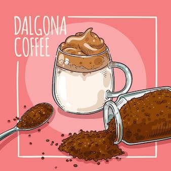 Projeto de ilustração de café dalgona