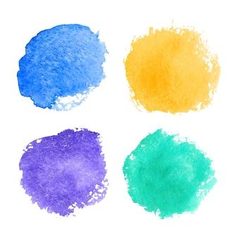 Projeto de ilustração de coleções coloridas de manchas em aquarela