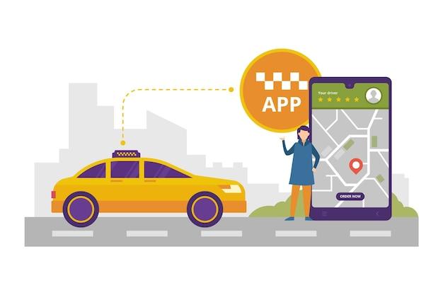 Projeto de ilustração de conceito de aplicativo de táxi