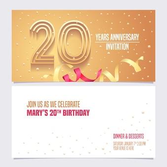 Projeto de ilustração de convite de aniversário de 20 anos