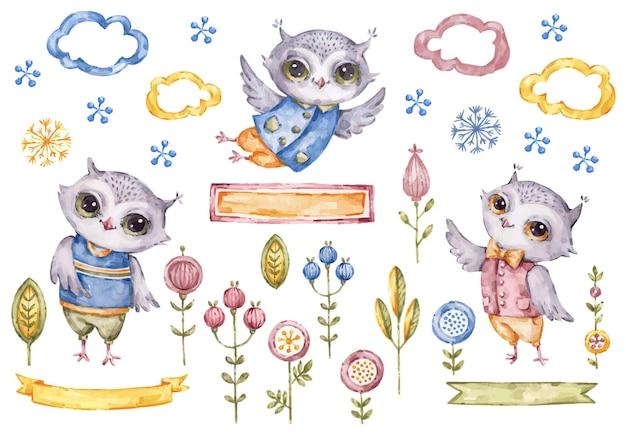 Projeto de ilustração de corujas menino fofo