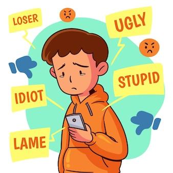 Projeto de ilustração de cyber bullying