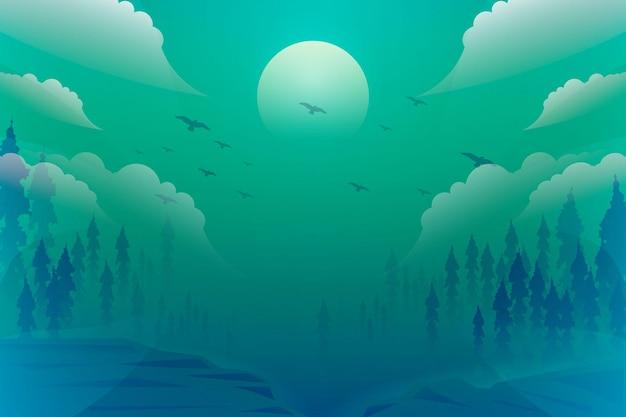 Projeto de ilustração de fundo verde azul gradiente fantasia