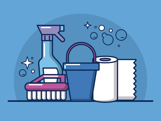 Projeto de ilustração de ícones de ferramentas e produtos de limpeza