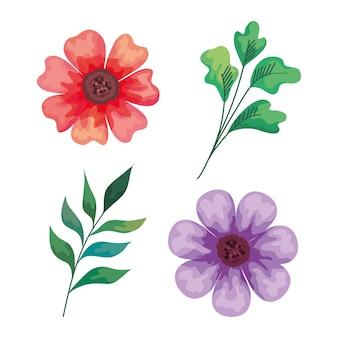 Projeto de ilustração de ícones decorativos de belas flores e ramos