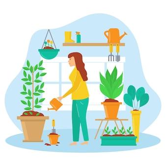 Projeto de ilustração de jardinagem em casa