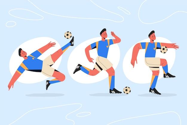 Projeto de ilustração de jogadores de futebol plano