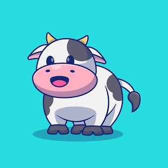 Projeto de ilustração de mascote dos desenhos animados de vaca fofa sorridente conceito de projeto de animal isolado premium
