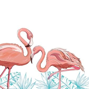 Projeto de ilustração de pássaro flamingo