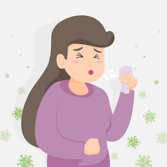 Projeto de ilustração de pessoa tosse