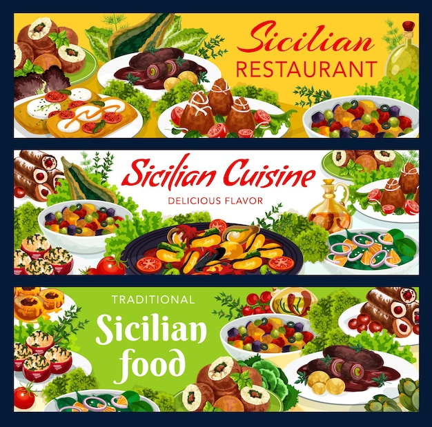 Projeto de ilustração de refeições sicilianas