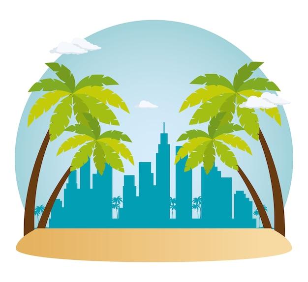 Projeto de ilustração de vetor de cena de paisagem urbana de miami beach