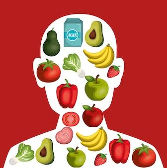 Projeto de ilustração de vetor de ícone de comida saudável de nutrição