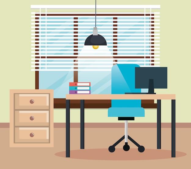 Projeto de ilustração de vetor de ícones de cena no local de trabalho de escritório