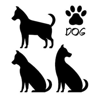 Projeto de ilustração de vetor de ícones de silhueta de cachorro fofo