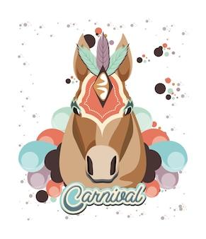 Projeto de ilustração do carnaval cavalo vintage ícone vector