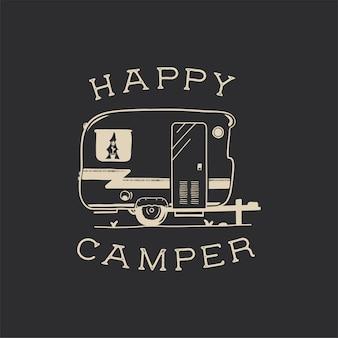 Projeto de ilustração do emblema de tipografia de acampamento.