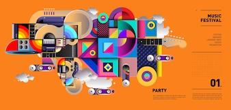 Projeto de ilustração do Festival de música para festa e evento