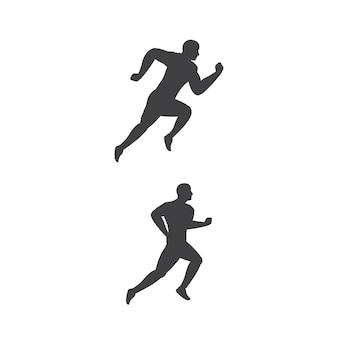 Projeto de ilustração do ícone do vetor silhueta corrida esporte