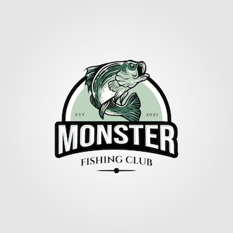 Projeto de ilustração do modelo do logotipo do monstro bass