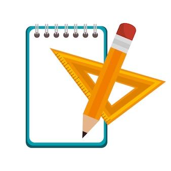 Projeto de ilustração do notebook escola ícone isolado vector