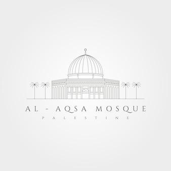 Projeto de ilustração do símbolo vetorial do logotipo mínimo da mesquita de al aqsa, design de arte em linha al-isra wal-mi'raj masjidil al-aqsa