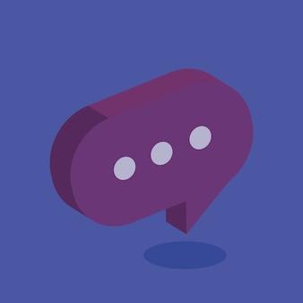Projeto de ilustração do vetor de ícone isométrica de bolha do discurso