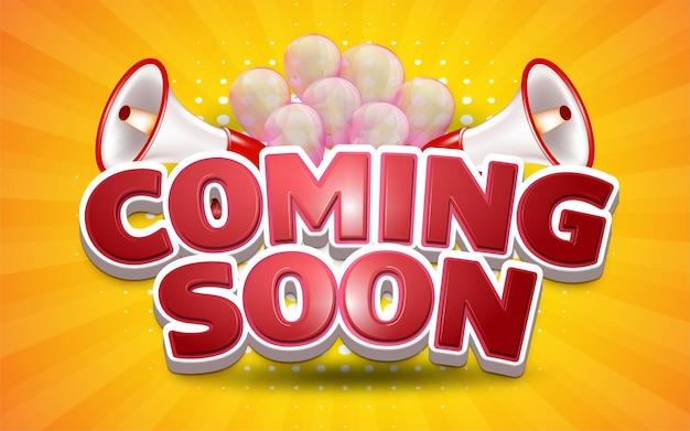 Projeto de ilustração em breve promoção com balões e megafone