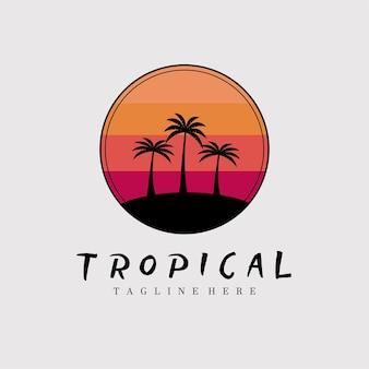 Projeto de ilustração em vetor logotipo pôster tropical