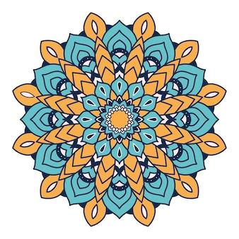 Projeto de ilustração étnica de mandala colorida floral decorativo
