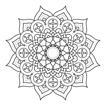Projeto de ilustração étnica de mandala monocromática floral decorativa