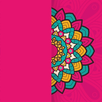 Projeto de ilustração étnica de meia mandala colorida floral decorativo
