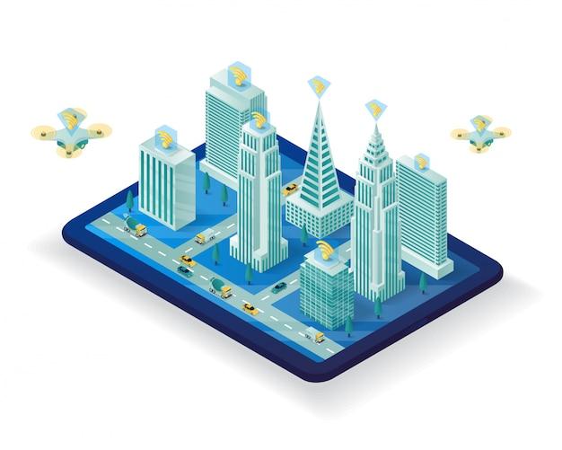Projeto de ilustração isométrica cidade inteligente