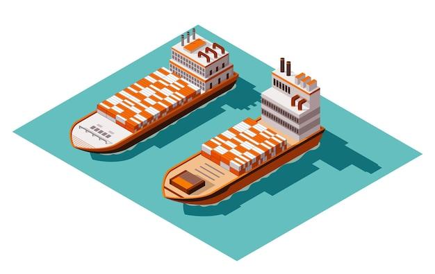 Projeto de ilustração isométrica de navio de carga em contêiner